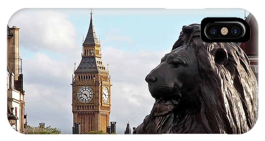 London IPhone X Case featuring the photograph Trafalgar Square Lion With Big Ben by Gill Billington