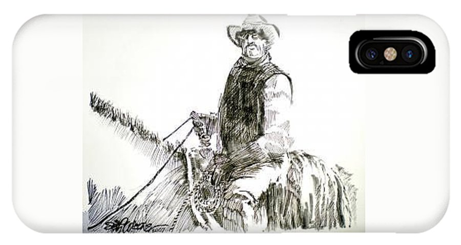 Trail Boss IPhone X Case featuring the drawing Trail Boss by Seth Weaver