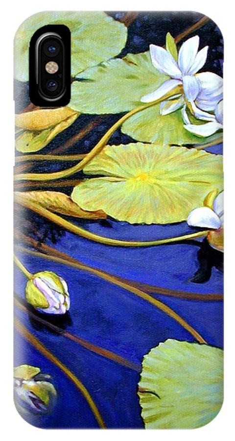 Water Lilies IPhone X Case featuring the painting Trailing Beauty by John Lautermilch