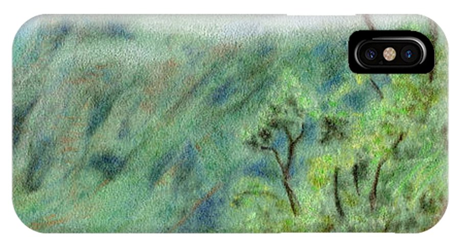 Rainbow Colors Pastel IPhone Case featuring the painting Trail's End by Kenneth Grzesik