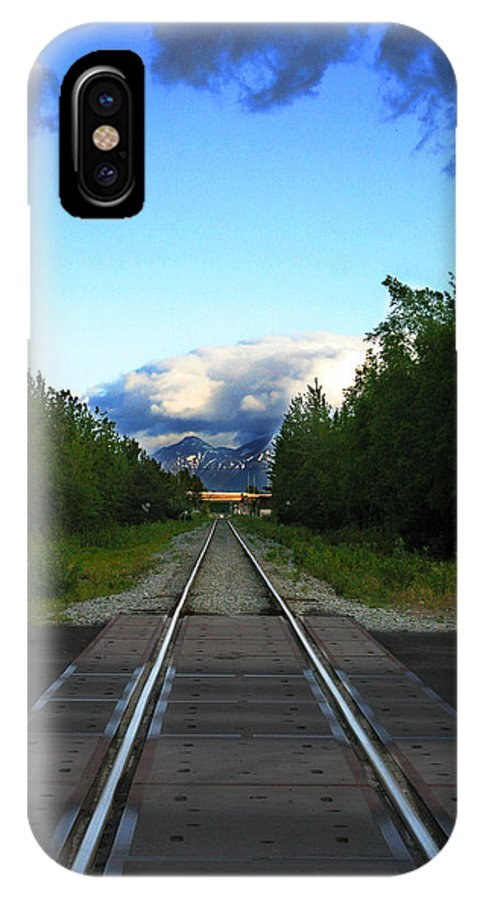 Train IPhone X Case featuring the photograph Train Tracks Anchorage Alaska by Anthony Jones