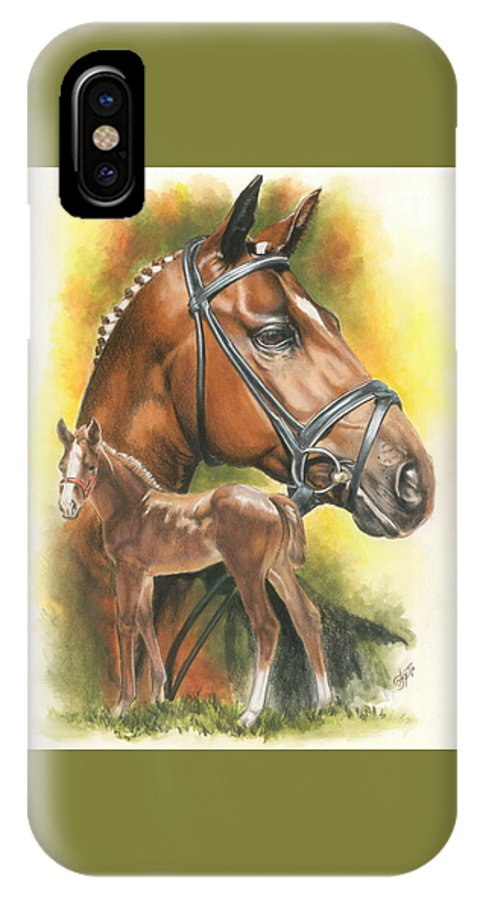 Jumper Hunter IPhone X Case featuring the mixed media Trakehner by Barbara Keith