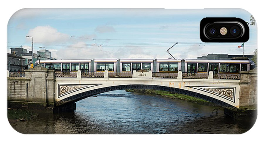 2017 IPhone X Case featuring the photograph Tram On The Sean Heuston Bridge by Andrew Michael