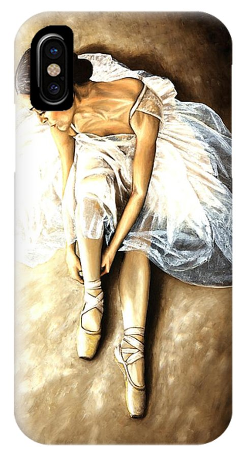 Ballet IPhone X Case featuring the painting Tranquil Preparation by Richard Young