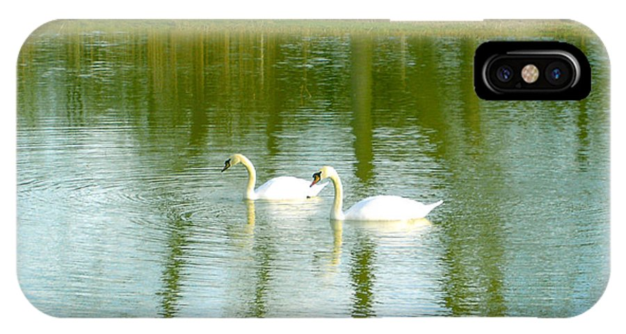 Swans IPhone X Case featuring the photograph Tranquil Reflection Swans by Susan Baker