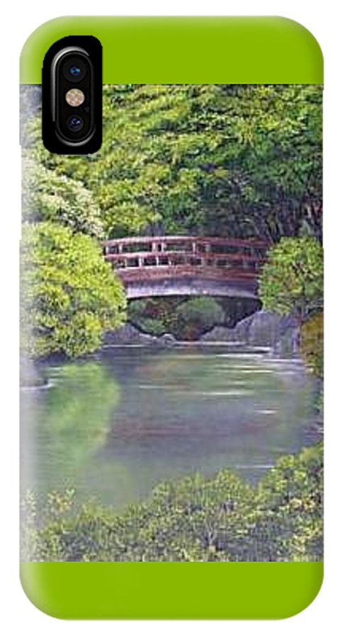 This Peaceful Scene Is An Artist's Rendition Of The Japanese Gardens IPhone X Case featuring the painting Tranquility by Darla Boljat