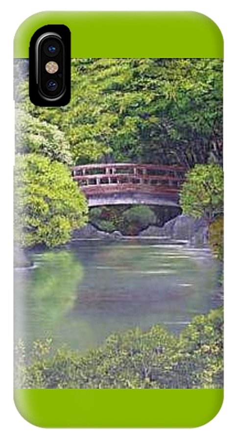 This Peaceful Scene Is An Artist's Rendition Of The Japanese Gardens IPhone X / XS Case featuring the painting Tranquility by Darla Boljat