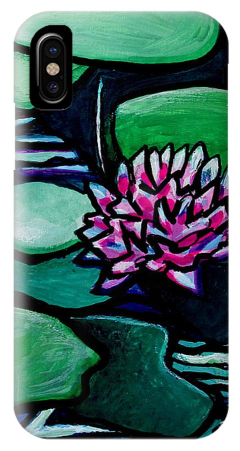 Lilly Pads IPhone X Case featuring the painting Tranquility by Elizabeth Robinette Tyndall