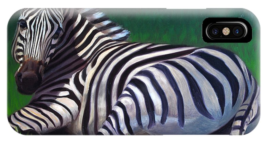 Zebra IPhone X Case featuring the painting Tranquility by Greg Neal