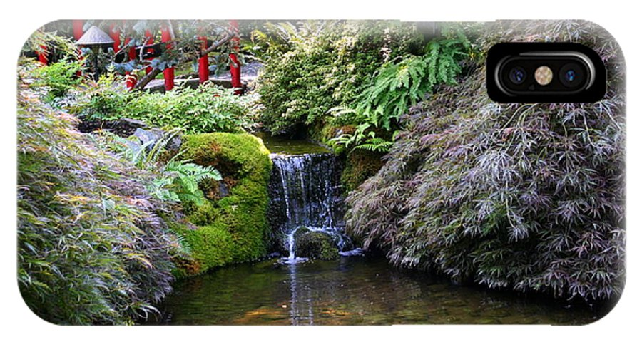 Japanese Garden IPhone X Case featuring the photograph Tranquility In A Japanese Garden by Laurel Talabere