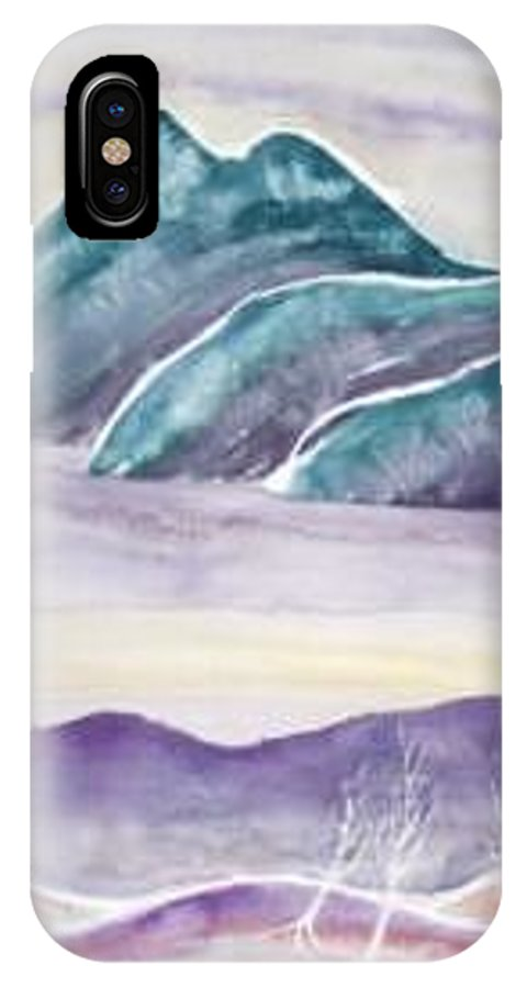 Watercolor IPhone X / XS Case featuring the painting Tranquility Landscape Mountain Surreal Modern Fine Art Print by Derek Mccrea