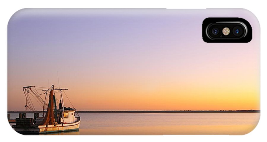 Texas City IPhone X Case featuring the photograph Shrimp Trawler At Dusk 2am-109249 by Andrew McInnes