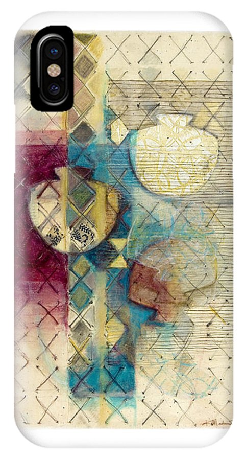 Mixed-media IPhone X Case featuring the painting Trans Xs No 1 by Kerryn Madsen- Pietsch
