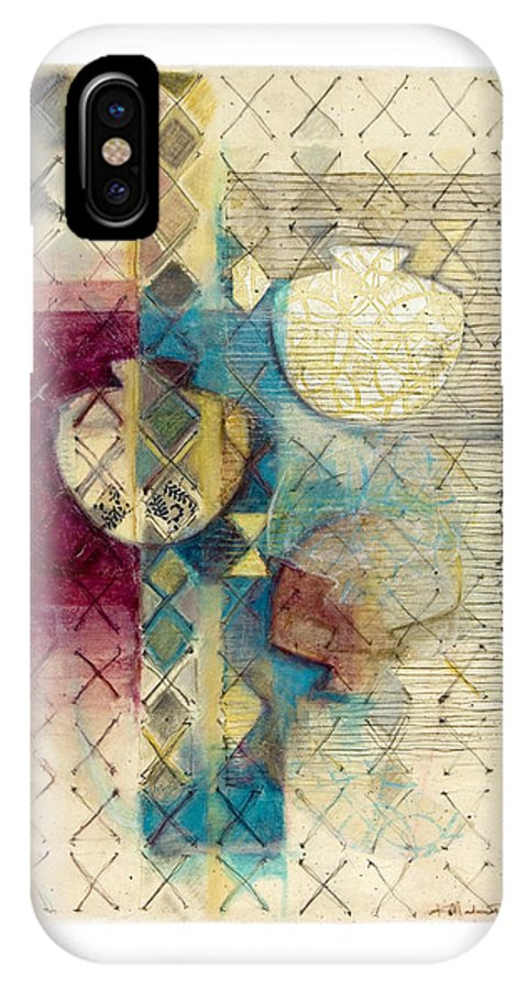 Mixed-media IPhone Case featuring the painting Trans Xs No 1 by Kerryn Madsen- Pietsch