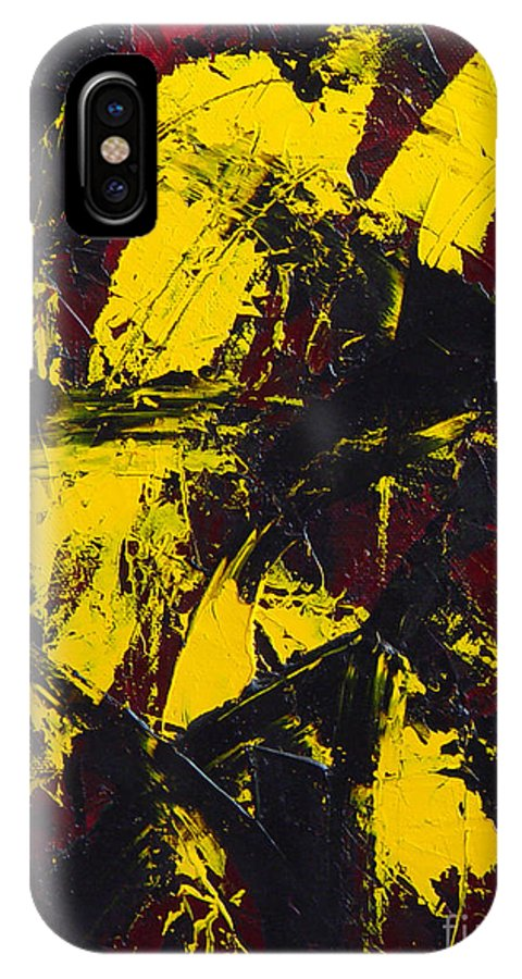 Abstract IPhone X Case featuring the painting Transitions With Yelllow And Black by Dean Triolo
