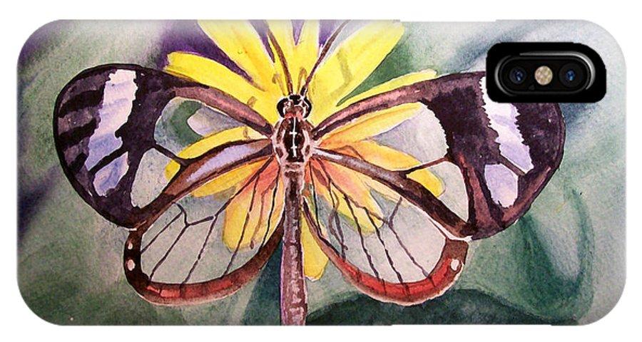 Transparent IPhone X Case featuring the painting Transparent Butterfly by Irina Sztukowski