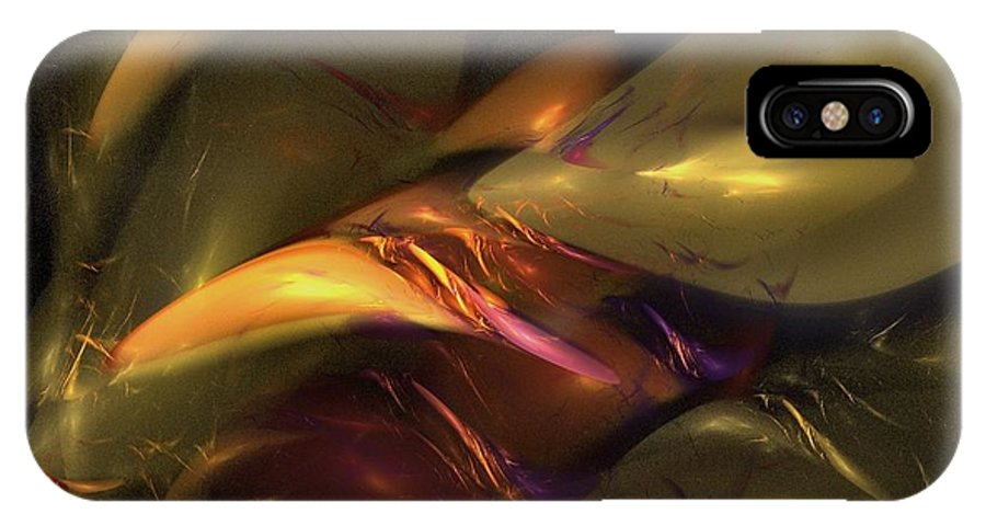 Amber IPhone X Case featuring the digital art Trapped In Amber by NirvanaBlues