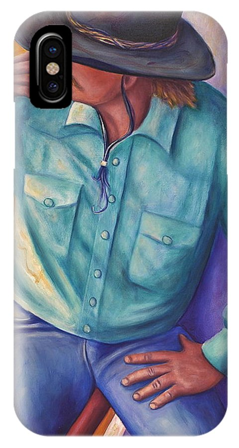 Cowboy IPhone X Case featuring the painting Travelin Man by Shannon Grissom