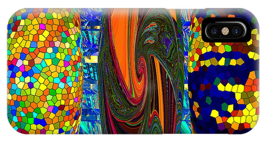 Modern Art Abstract Contemporary Vivid Colors IPhone X Case featuring the digital art Tre-blue by Phillip Mossbarger