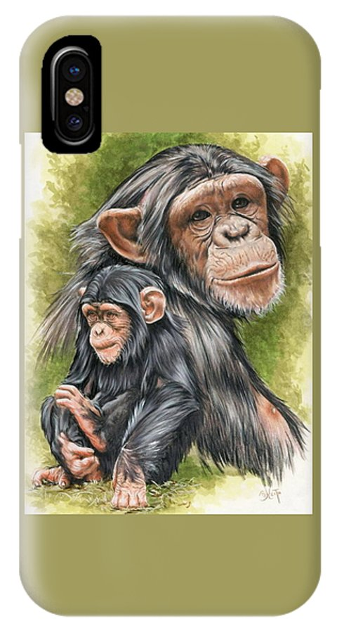 Chimpanzee IPhone X Case featuring the mixed media Treasure by Barbara Keith