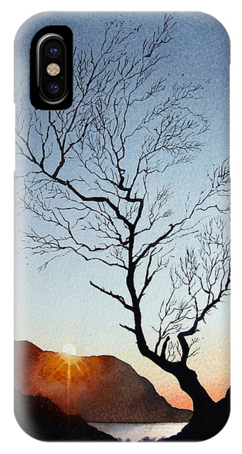 Landscape IPhone X Case featuring the painting Tree above Crummock water by Paul Dene Marlor