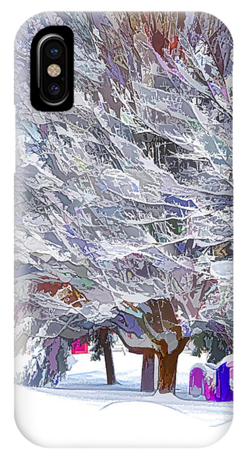 Background IPhone X Case featuring the painting Tree Branches Covered By Snow by Jeelan Clark