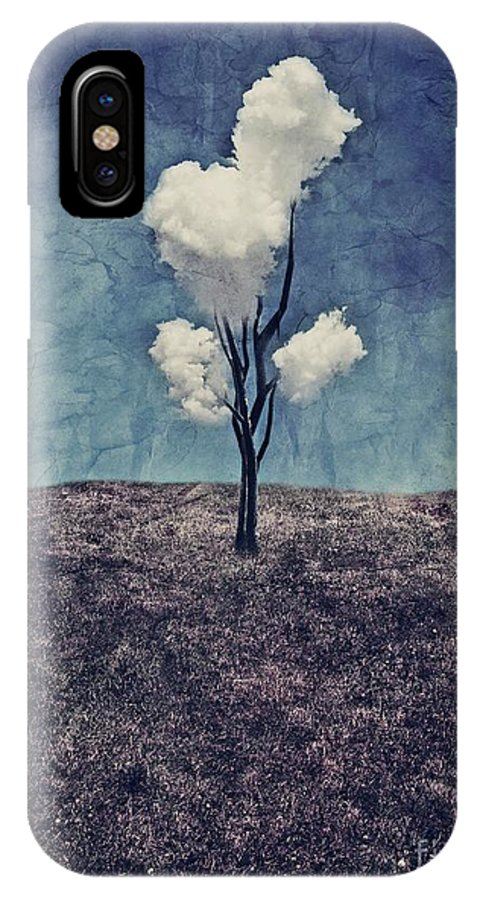 Tree IPhone X Case featuring the digital art Tree Clouds 01d2 by Aimelle