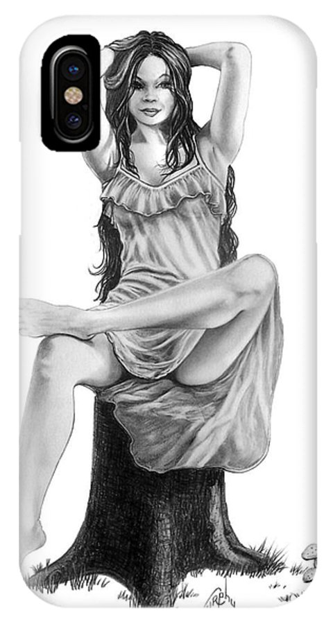 Figure Drawing IPhone X Case featuring the drawing Tree Nymph by Murphy Elliott