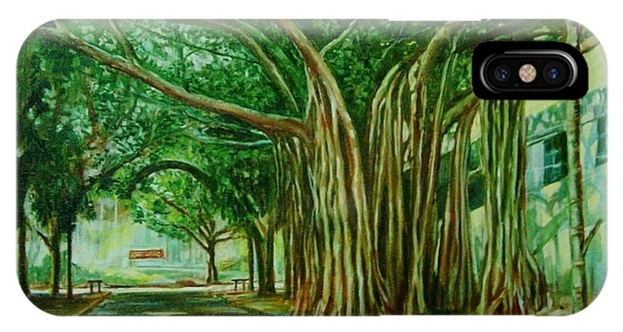 Tree IPhone X Case featuring the painting Tree Old Guy by Usha Shantharam