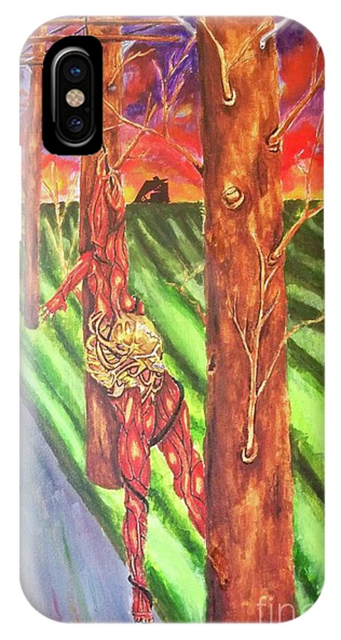 #trees #telephone Poles IPhone X Case featuring the painting Tree Perspective by Madeline Nicowski