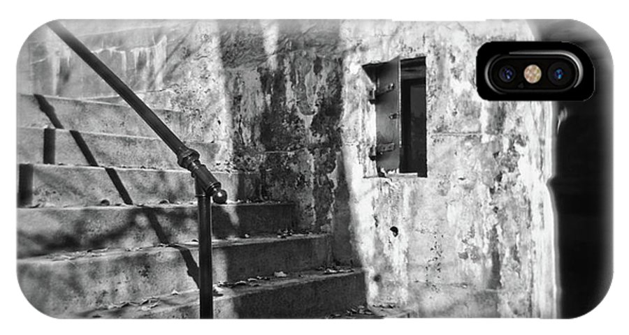 Delaware IPhone X Case featuring the photograph Tree Shadow , Doors And Stairs At The Elder Battery At Fort Delaware by David Wolanski