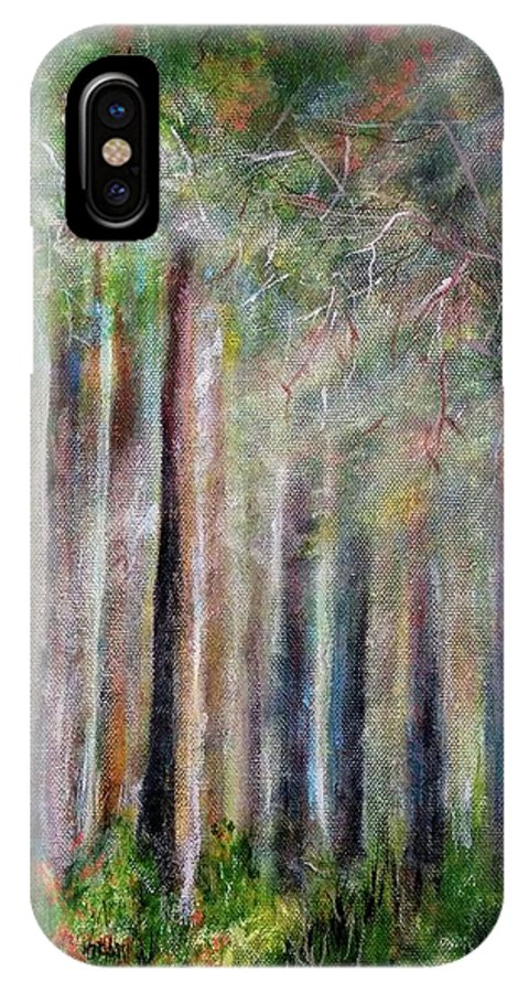 IPhone X Case featuring the painting Trees 2 by Anthony Camilleri