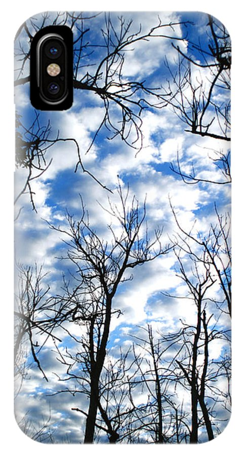 Trees Blue Sky Clouds White Puffy Landscape Photography Photograph Art IPhone X Case featuring the photograph Trees In The Sky by Shari Jardina