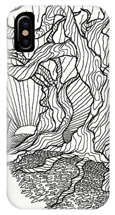 Line.drawing IPhone X / XS Case featuring the digital art Trees In The Woods  by David Michael Schmidt