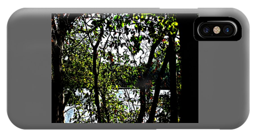 Green IPhone X / XS Case featuring the photograph Trees Over Looking Water by Lori Faircloth