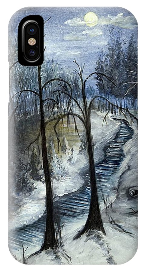 Winter IPhone X Case featuring the painting Tresa's Nite by Richard Jules