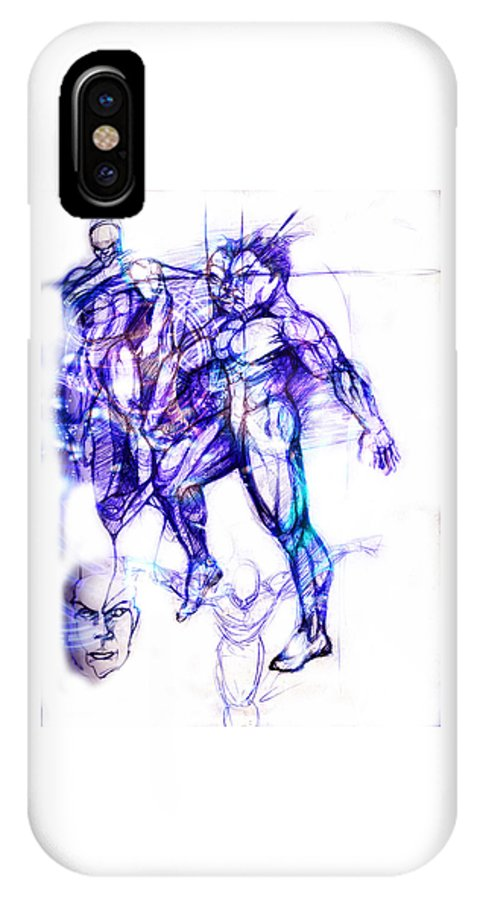 Dancers IPhone X Case featuring the digital art Tribal Dancers by Isaac Feliciano