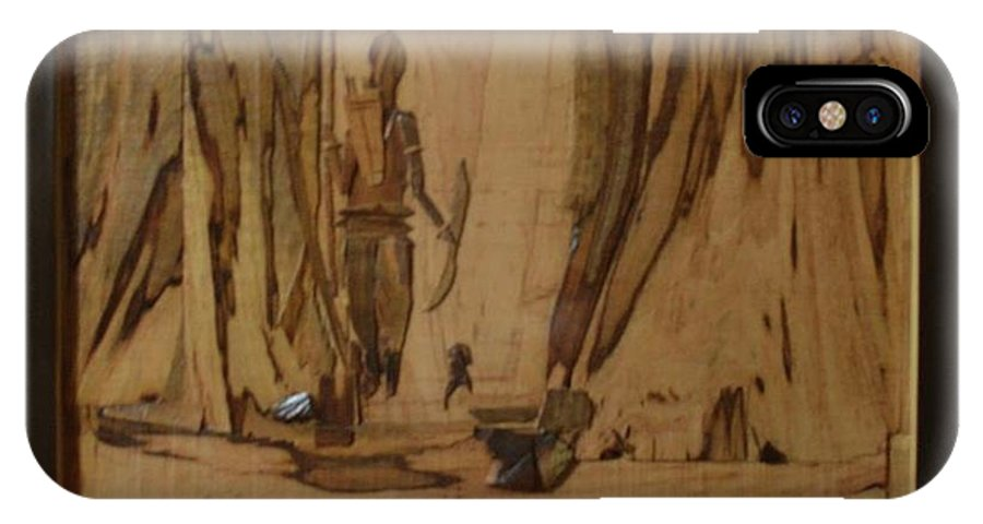 IPhone X Case featuring the painting Tribal Man With Wooden Waste by Pooja Shirke