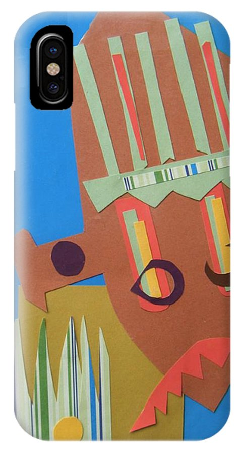 African IPhone X Case featuring the mixed media Tribal mask by Debra Bretton Robinson