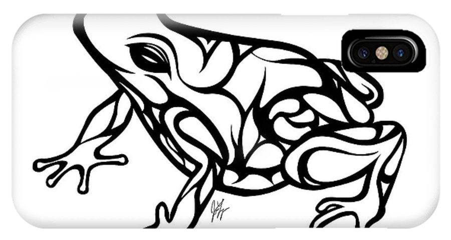 Frog IPhone X Case featuring the digital art Tribal Ribbet by Jamie Lynn