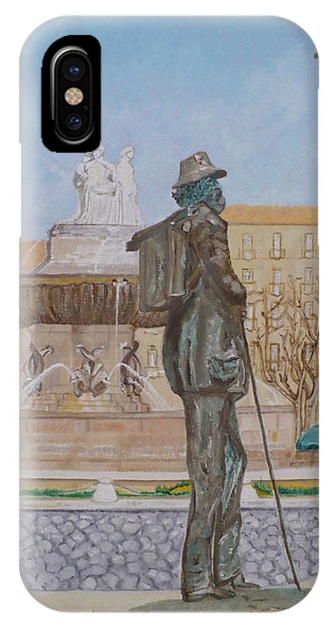 Fountain La Rotonde IPhone Case featuring the painting Tribute To Cezanne by Coco de la garrigue
