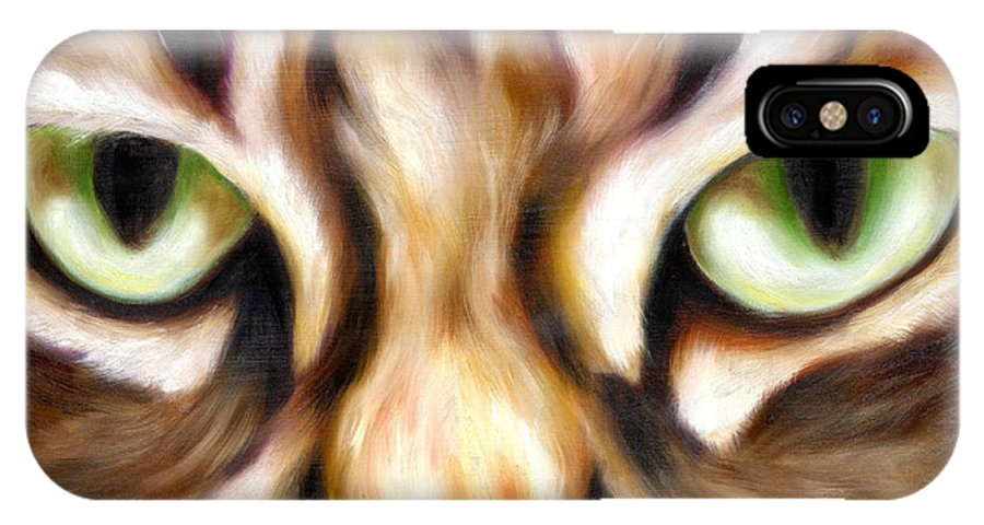 Cat IPhone X Case featuring the painting Trick Or Treat by Hiroko Sakai