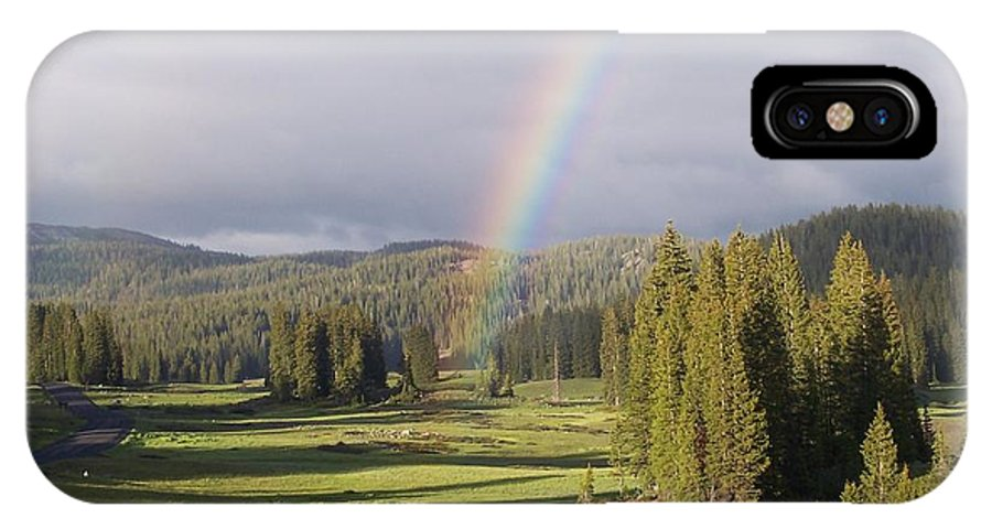 Landscape IPhone X Case featuring the photograph Trickle Park Rainbow by Tina Barnash
