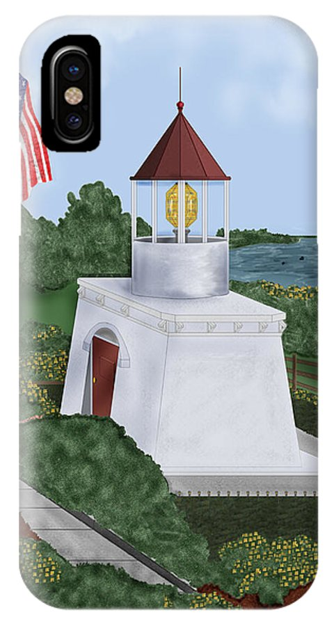Trinidad Memorial IPhone X Case featuring the painting Trinidad Memorial Lighthouse by Anne Norskog