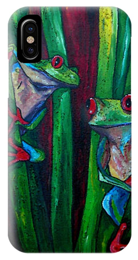 Tree Frogs IPhone X Case featuring the painting Trinity Of Tree Frogs by Patti Schermerhorn