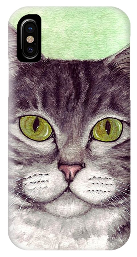 Cat IPhone X Case featuring the painting Tripper by Kristen Wesch
