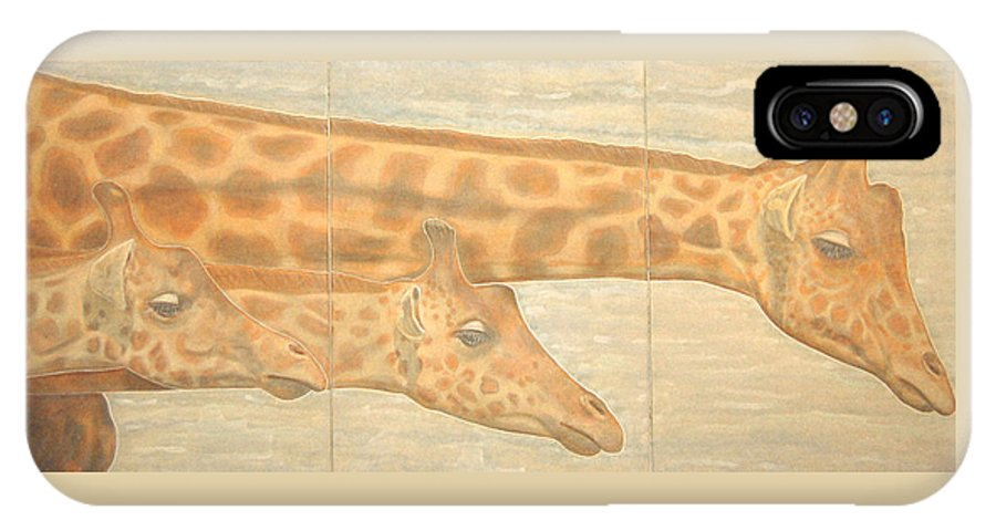 Giraffes IPhone X Case featuring the painting Triptych Giraffes General View by Isabelle Ehly