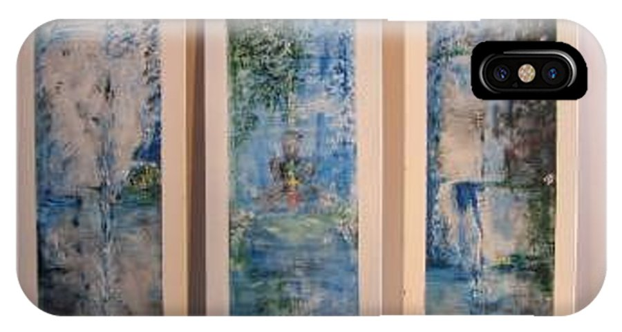 Meditation IPhone X Case featuring the painting Triptych Spiritual Meditation by Lizzy Forrester
