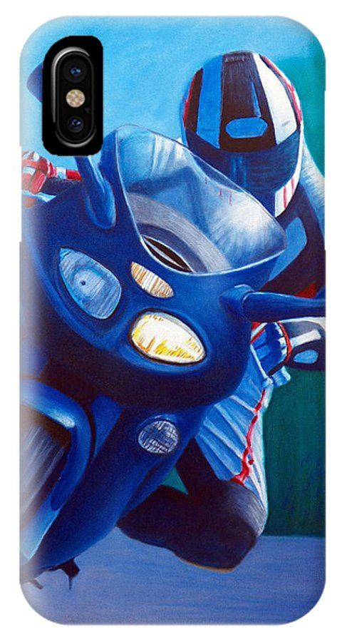 Motorcycle IPhone X Case featuring the painting Triumph Sprint - Franklin Canyon by Brian Commerford