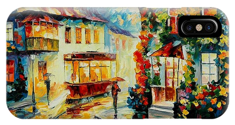Afremov IPhone X Case featuring the painting Trolley by Leonid Afremov